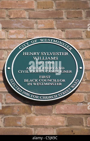 westminster council plaque marking a home of henry sylvester williams in paddington, london, england - Stock Photo