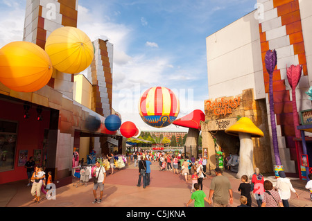 People in Disney Village at Disneyland Paris in France - Stock Photo