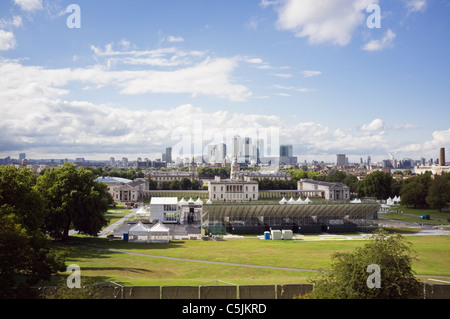 View to 2012 Olympic games equestrian events venue and stadium in The Queen's House grounds. Greenwich Park, London, - Stock Photo
