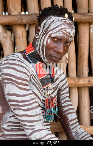 Portrait of a Karo tribesman at the village of Kolcho in the Lower Omo Valley, Southern Ethiopia, Africa. - Stock Photo