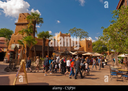 People in Adventureland at Disneyland Paris in France - Stock Photo