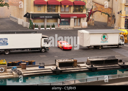 The Lightning Mcqueen car at the Moteurs...Action stunt show spectacular at Disneyland Paris in France - Stock Photo