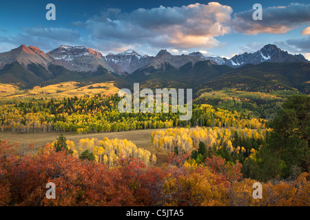 Autumn colors and the Sneffels Range, San Juan Mountains, Colorado. - Stock Photo
