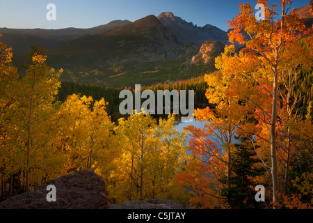 Autumn colors at Bear Lake, Rocky Mountain National Park, Colorado. - Stock Photo
