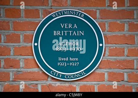westminster council plaque marking a home of author vera brittain, in maida vale, london, england - Stock Photo