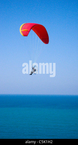 Powered paraglider flying above the Black Sea in Istanbul, aerial, view, Turkey (MR) - Stock Photo