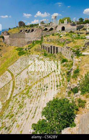 Antique theater in Acropolis of Pergamon (Pergamum / Bergama) Western Turkey - Stock Photo