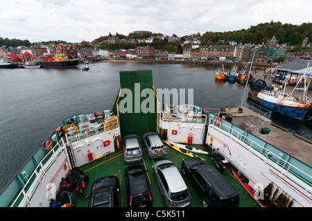 The Scottish west coast town of Oban seen from the Caledonian MacBrayne ferry 'MV Clansman' leaving for the Outer - Stock Photo