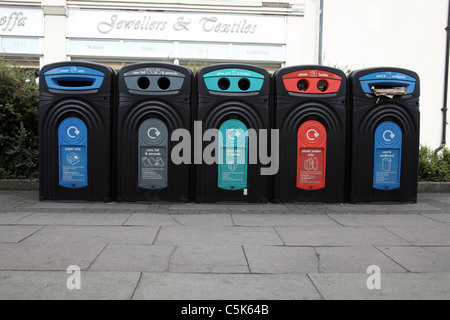 Colour Coded Recycling Bins on Street - Stock Photo