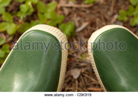 Tips of green rubber boots. - Stock Photo