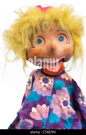 Vintage hand puppet / ventriloquist doll - Stock Photo