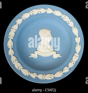 Wedgwood blue Jasperware plate commemorating the wedding of Prince Charles and Lady Diana Spencer (29th July 1981) Stock Photo