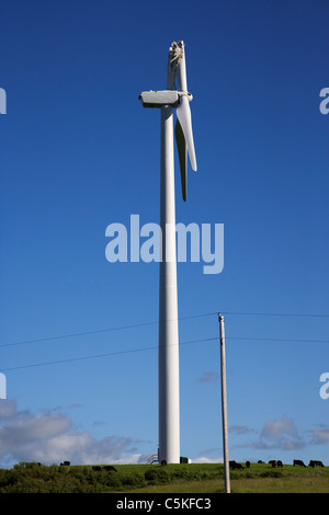 broken wind turbine blade on windmill wind farm near minot north dakota USA - Stock Photo