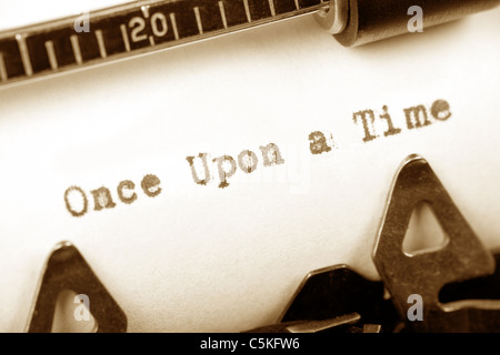 Typewriter close up shot, concept of story, Once Upon a Time - Stock Photo