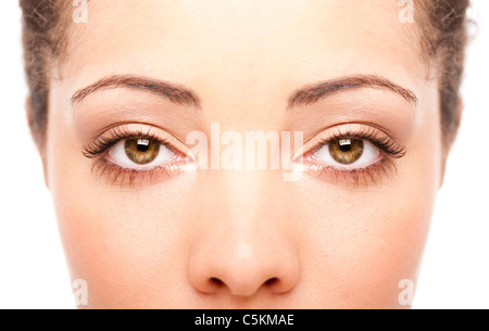 Beautiful female eyes as windows to the soul on face with fair skin, health concept, isolated. - Stock Photo