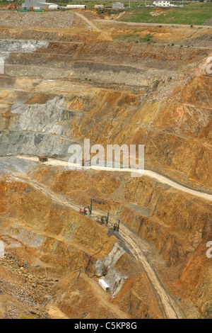 Martha opencast gold and silver mine, Waihi, New Zealand. Measures 860 x 200 metres, and 250 metres deep. Produces - Stock Photo