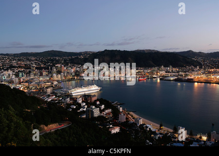 Wellington city and harbour from Mount Victoria at dawn, cruise liner moored at wharf. New Zealand - Stock Photo