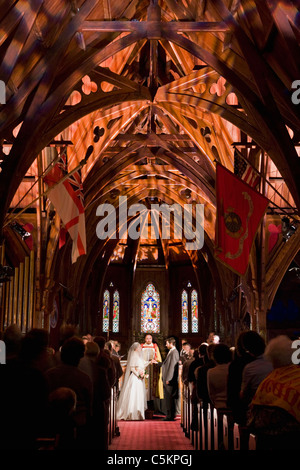 A simulated Victorian wedding ceremony as part of a Son-et-Lumiere programme, Old St Pauls Cathedral, Wellington, - Stock Photo