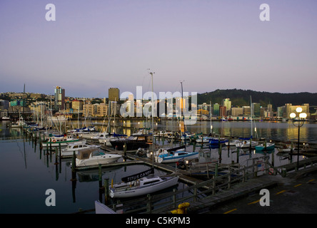 Wellington city and harbour at dawn, New Zealand - Stock Photo