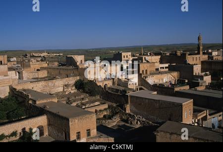 Old houses in the Syrian city of Midyat southeast Turkey on the Mesopotamian Plain - Stock Photo