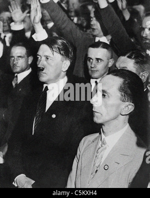 Joseph Goebbels German wartime Minister of Propaganda with Adolf Hitler from the archives of Press Portrait Service - Stock Photo
