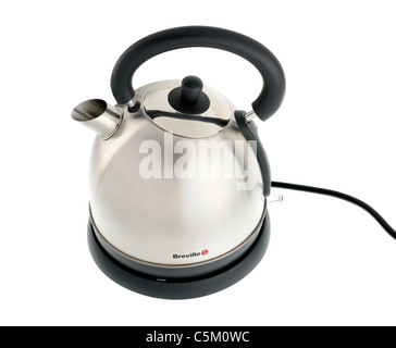 Breville brushed stainless steel electric traditional kettle. - Stock Photo