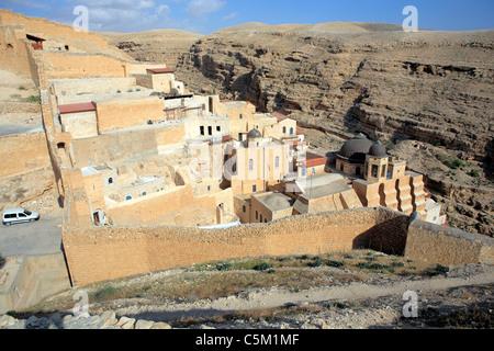 Greek orthodox monastery of St. Saba, Mar Saba, Israel - Stock Photo