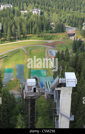 Ski jumping tower in Puijo, Kuopio during summer - Stock Photo