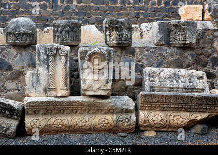Ruins of synagogue (4th-5th century), Capernaum, Israel - Stock Photo