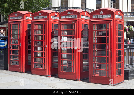 London,The Strand Red telephone boxes July 2011 - Stock Photo