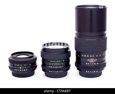 Lenses for 35-mm soviet retro photocamera isolated on white background - Stock Photo