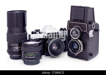 Soviet retro photo cameras and lenses isolated on white background - Stock Photo