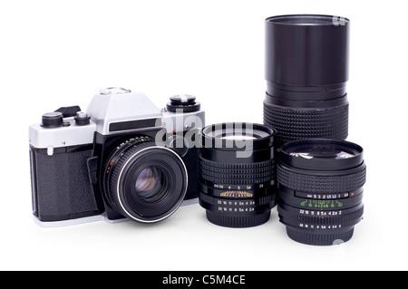 Soviet retro photo camera and lenses isolated on white background - Stock Photo
