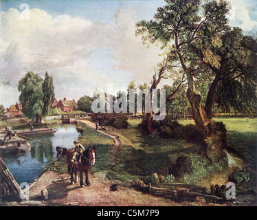 Painting by John Constable; 'Flatford Mill on the River Stour'; English School; Oil on Canvas - Stock Photo