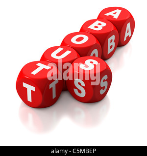 About us as text on red dice or blocks on white background - Stock Photo