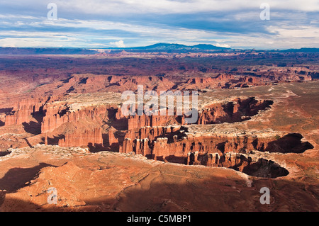 Sunset at Grand View Point Overlook, Canyonlands National Park, Utah, USA - Stock Photo