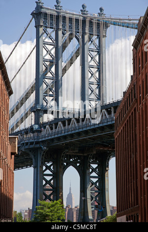 Manhattan Bridge as viewed from Brooklyn New York with a view of the Empire State building in the distance USA - Stock Photo