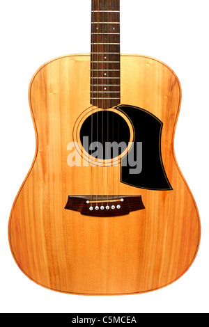 Isolated body of solid wood, Acoustic Guitar - Stock Photo