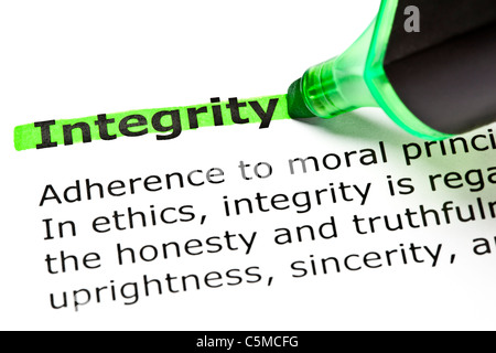 The word 'Integrity' highlighted in green with felt tip pen - Stock Photo