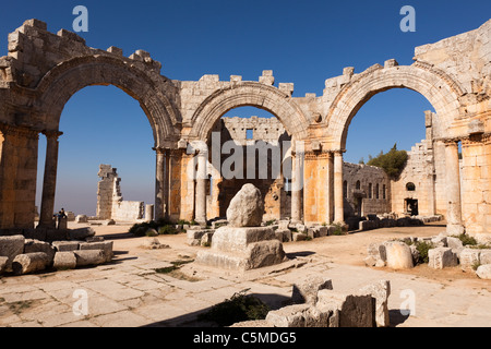 Qala'at Samaan, the Church of Saint Simeon, near Aleppo, Syria, Middle East - Stock Photo