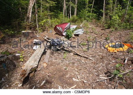 Poor leave no trace ethics - Abandoned campsite in the White Mountain National Forest of New Hampshire - Stock Photo