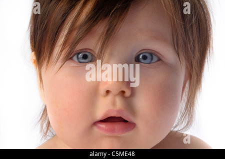 cute adorable baby girl  white background - Stock Photo