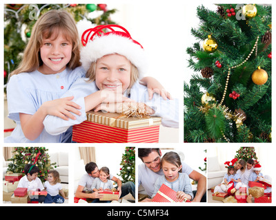 Collage of a family celebrating Christmas - Stock Photo