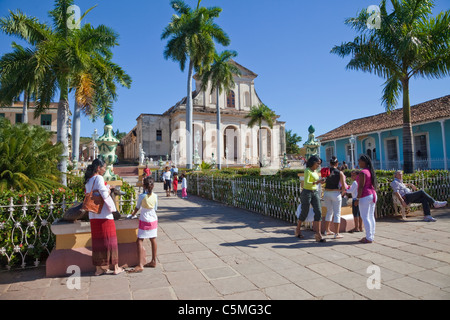 Cuba, Trinidad. Plaza Mayor, Holy Trinity Church in Background, late 19th. century. - Stock Photo