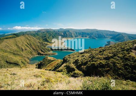 Fire Lake (Lagoa do Fogo) in a sunny day. Sao Miguel island, Azores islands, Portugal. - Stock Photo