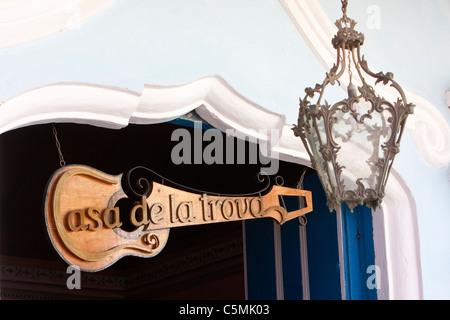 Cuba, Trinidad. Entrance to Casa de la Trova, a Bar-Restaurant with Music. - Stock Photo