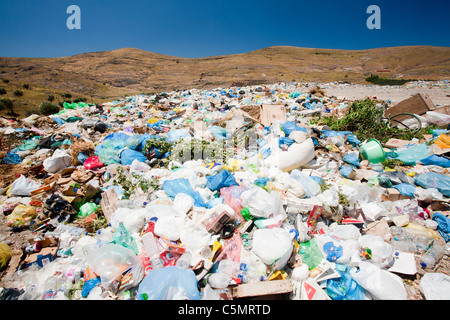 A landfill site in Eresos, Lesbos, Greece. As many islands, rubbish is a problem with no recycling taking place. - Stock Photo