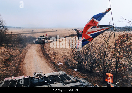 British peacekeeping troops from the Queen's Royal Hussars in Bosnia in 1996 .Challenger tanks on patrol in Bosnia - Stock Photo