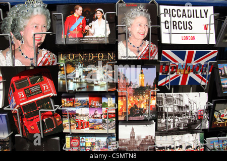 A stall selling souvenirs and postcards in Westminster, London, England, U.K. - Stock Photo