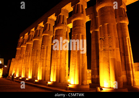 Court of Amenhotep III at Luxor temple - Night - Stock Photo